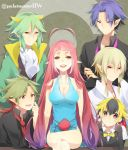 5boys animal_ears blonde_hair breasts character_request cleavage crossed_legs emolga fingerless_gloves gloves green_hair haxorus hydreigon legs_crossed long_hair looking_at_viewer milotic miyamotokannn multicolored_hair multiple_boys ninetales personification pink_hair pointy_ears pokemon pokemon_(game) pokemon_bw purple_hair serperior short_hair sitting smile title_drop very_long_hair