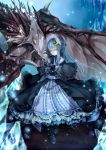 1girl alternate_costume boots capelet crescent dragon dress fang frills gothic_lolita hair_ornament lolita_fashion long_hair patchouli_knowledge purple_hair silentdin solo touhou violet_eyes yellow_eyes