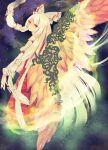 feathered_wings fujiwara_no_mokou hair_ribbon long_hair orange_eyes phoenix_wings ribbon solo touhou tress_ribbon wings yukihitsuji_(gold-wing)