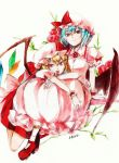 bat_wings blonde_hair blue_hair brooch dress flandre_scarlet flower hakoremi hat hat_ribbon jewelry looking_at_viewer marker_(medium) multiple_girls pencil_crayon_(medium) pink_dress puffy_sleeves red_dress red_eyes remilia_scarlet ribbon short_hair short_sleeves siblings sisters sitting smile smug tongue tongue_out touhou traditional_media wings wrist_cuffs wrist_ribbon
