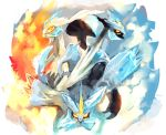 claws dragon highres kyurem monster multiple_persona no_humans pokemon pokemon_(creature) pokemon_(game) pokemon_bw pokemon_bw2 purplekecleon sharp_teeth spikes wings yellow_eyes