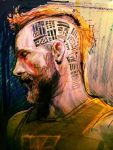 beard closed_eyes facial_hair fifield head male mohawk orange_hair portrait profile prometheus_(movie) realistic rough science_fiction shirt solo tattoo weyland-yutani