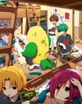 3boys blonde_hair blue_eyes blue_hair brown_hair bunk_bed clefairy green_hair kojirou_(pokemon) kosaburou_(pokemon) meowth mondo_(pokemon) multiple_boys multiple_girls musashi_(pokemon) objectification pikachu plush pokemon pokemon_(anime) poliwhirl red_hair redhead stuffed_toy team_rocket victreebel yamato_(pokemon)