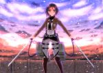 1girl belt boots brown_eyes brown_hair buckle clouds jacket long_sleeves mikasa_ackerman pants scarf shingeki_no_kyojin short_hair sky solo sword thigh_strap three-dimensional_maneuver_gear weapon yuzukaze_rio