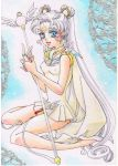 bishoujo_senshi_sailor_moon blue_eyes doily double_bun erect_nipples facial_mark forehead_mark full_body hair_bun high_heels long_hair millipen_(medium) sailor_collar sailor_cosmos shoes silver_hair sitting staff traditional_media twintails wariza winged_shoes wings yasaka_c_b