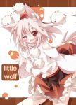 1girl animal_ears blush daidai_ookami hat heart inubashiri_momiji open_mouth red_eyes short_hair silver_hair smile solo tail tokin_hat touhou white_hair wolf_ears wolf_tail