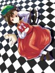 1girl animal_ears brown_eyes brown_hair cat cat_ears cat_tail checkered checkered_floor chen dress hamakenn hat hat_removed headwear_removed highres looking_at_viewer multiple_tails short_hair smile solo tail touhou