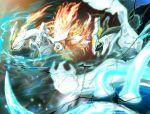 battle claws dragon dual_persona electricity fire flame fujitaka horns kyurem monster no_humans pokemon pokemon_(game) pokemon_bw2 sharp_teeth yellow_sclera