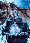 1girl alternate_costume boots capelet crescent dragon dress fang frills gothic_lolita hair_ornament lolita_fashion long_hair patchouli_knowledge purple_hair revision silentdin solo touhou violet_eyes yellow_eyes