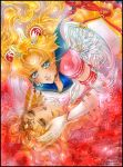 2girls acrylic_paint_(medium) airbrush_(medium) artist_name bishoujo_senshi_sailor_moon blonde_hair blue_eyes border brooch doily elbow_gloves eternal_sailor_moon eyeshadow feathered_wings gem gloves hair_ornament hairclip hands_on_another's_face hands_on_another's_face heart jewelry lips lipstick makeup marker_(medium) multiple_girls nail_polish orange_eyes sailor_collar sailor_galaxia sailor_moon tiara traditional_media tsukino_usagi watermark web_address wings yaichino