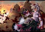 animal_ears detached_sleeves hat imonezi inubashiri_momiji leaf leaves maple_leaf mountain orange_eyes shield short_hair silver_hair solo sword tokin_hat touhou weapon wolf_ears