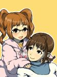 akizuki_ritsuko antenna_hair artist_request bespectacled black_eyes braid glasses glasses_switch hoodie idolmaster multiple_girls no_glasses oversized_clothes smile sparkle takatsuki_yayoi turtleneck twin_braids twintails