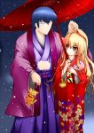 blonde_hair blue_hair brown_eyes el_(artist) el_(canon_jihad) japanese_clothes kimono long_hair oriental_umbrella palmtop_tiger snow takasu_ryuuji tiger toradora! umbrella