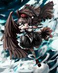black_hair black_wings brown_eyes crow fan geta hat kara_kasa shameimaru_aya short_hair skirt solo tengu-geta tokin_hat touhou wings