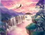 clouds highres ho-oh newtop no_humans plant pokemon pokemon_(creature) pokemon_(game) pokemon_gsc pokemon_hgss silhouette sky tree water waterfall wings