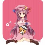 bad_id boots bow character_doll doll hair_bow hat ika kirisame_marisa long_hair patchouli_knowledge purple_eyes purple_hair solo touhou violet_eyes witch_hat