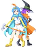 alternate_costume back-to-back belt blue_hair boots cape circlet cosplay crossover dragon_quest dragon_quest_iii dress elbow_gloves gloves hat highres hinanawi_tenshi long_hair looking_at_viewer looking_back mage_(dq3) mage_(dq3)_(cosplay) multiple_girls nagae_iku open_mouth purple_hair red_eyes sage_(dq3) sage_(dq3)_(cosplay) scarf short_hair simple_background smile sword sword_of_hisou thighhighs touhou transparent_background tsurukou_(tksymkw) weapon witch_hat yellow_gloves