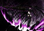 armor black_hair black_rock_shooter boots chain gun insane_black_rock_shooter long_hair purple_eyes scar shorts twintails violet_eyes weapon