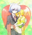 1girl apple ayasaki_hayate blonde_hair blue_eyes blue_hair carrying food fruit hayate_no_gotoku! hitaishou_chiritori long_hair princess_carry sanzen'in_nagi sanzen'in_nagi thigh-highs thighhighs twintails