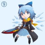 ⑨ ? advent_cirno blue_eyes blue_hair bow chibi cirno dress hair_bow ice ice_wings mouth_hold multiple_belts popsicle scarf solo sword touhou venomousblaze watermark weapon web_address wings ã¢â€˜â¨ ⑨