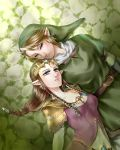 1girl belt blonde_hair blue_eyes braid breasts brown_hair couple earrings hat highres jewelry link lips long_hair looking_at_viewer pointy_ears princess_zelda single_braid the_legend_of_zelda tiara twilight_princess wasabi_(legemd)