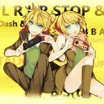 1girl :q aqua_eyes blonde_hair brother_and_sister controller headphones headphones_around_neck kagamine_len kagamine_rin looking_at_viewer nes project_diva project_diva_f remote_control rimocon_(vocaloid) short_hair siblings smile tongue vocaloid