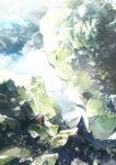 bird chrono_trigger floating_island from_above gloves grey_hair highres hill house long_hair magus pointy_ears road rock scenery sky solo tami tree