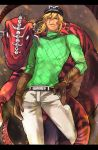 belt blonde_hair blue_eyes diego_brando dinosaur fangs gloves hat ishiimax jojo_no_kimyou_na_bouken scary_monsters solo stand_(jojo) steel_ball_run