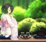 cat closed_eyes covering_mouth cup eyes_closed flower from_behind ginji74 green_hair highres japanese_clothes kimono mug obi original pillow seiza short_hair sitting solo tabi tears yawning