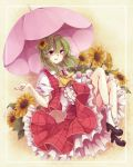 1girl ascot flower frame frills green_hair hair_flower hair_ornament kazami_yuuka miiko_(somnolent) open_mouth open_vest parasol petticoat pink_eyes puffy_sleeves shirt short_sleeves skirt skirt_set smile solo sunflower touhou umbrella