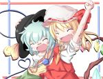 2girls :d aqua_hair arm_up bandage bandages bandaid blonde_hair blush border bow cheering closed_eyes eyes_closed fang flandre_scarlet hand_on_hat hat hat_ribbon heart komeiji_koishi long_hair multiple_girls one-armed_hug open_mouth ribbon short_hair short_sleeves skirt smile sugi222 third_eye touhou white_background wings