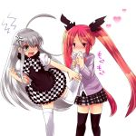 2girls ahoge black_legwear blush bow checkered cthugha_(nyaruko-san) eating green_eyes haiyore!_nyaruko-san heart kouji_(kari) long_hair long_sleeves multiple_girls nyarlathotep_(nyaruko-san) open_mouth puffy_sleeves red_eyes redhead school_uniform short_sleeves silver_hair sweatdrop thigh-highs twintails very_long_hair white_background white_legwear