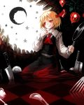 :q blood blood_on_face checkered checkered_floor fork frying_pan highres knife moon rumia solo spark621 tongue touhou