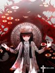 alucard_(hellsing) black_hair blood coat eyes girlycard green_(pixiv4667708) hat hellsing long_hair looking_at_viewer necktie original red_eyes smile solo teeth title_drop