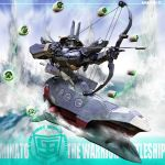 battleship bow bow_(weapon) electricity epic gibot helmet highres igunuk kabuto mecha minato_(gibot) ocean original realistic robot science_fiction weapon