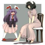 adult angry animal_ears barefoot black_hair blazer bunny_ears carrot chair child chiyoshi_(sevendw) inaba_tewi jewelry multiple_girls necklace necktie purple_hair rabbit_ears red_eyes reisen_udongein_inaba role_reversal sitting tears toe5278 touhou troll_face