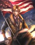 america_(hetalia) american_flag axis_powers_hetalia blonde_hair blue_eyes glasses gloves jacket jiuge looking_at_viewer male necktie realistic short_hair solo