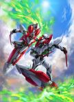 battle board cloud clouds dagger eureka_seven eureka_seven_(series) eureka_seven_ao flying highres mecha nirvash nirvash_neo nirvash_typezero sky sun weapon