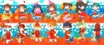 6+girls ahoge alternate_costume bangs basketball blue_(pokemon) brown_hair charmeleon cheerleader chibi croconaw crystal_(pokemon) dewott double_bun dual_persona espeon flareon glaceon grovyle hikari_(pokemon) hue_(pokemon) jolteon jumping jun_(pokemon) kotone_(pokemon) leafeon long_hair long_image mei_(pokemon) monferno multiple_boys multiple_girls n_(pokemon) ookido_green pokemon pokemon_(creature) pokemon_(game) pokemon_bw pokemon_bw2 pokemon_dppt pokemon_frlg pokemon_gsc pokemon_hgss pokemon_rse ponytail quilava red_hair redhead rotasu servine shell silver_(pokemon) standing touko_(pokemon) twintails umbreon vaporeon wide_image yuuki_(pokemon)