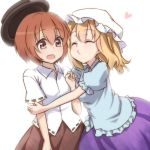^_^ blonde_hair brown_eyes brown_hair closed_eyes dress_shirt eyes_closed hat hat_removed headwear_removed maribel_hearn multiple_girls neo-traditionalism_of_japan o3o shirt short_hair skirt tori_(minamopa) touhou usami_renko