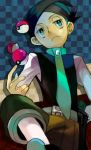 bored frontier_brain green_eyes holding holding_poke_ball lowres male mob_mob necktie nejiki_(pokemon) poke_ball pokemon pokemon_(game) pokemon_dppt sitting solo
