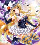alternate_costume at_classics bare_shoulders bat black_gloves blonde_hair breasts broom broom_riding brown_eyes cleavage elbow_gloves full_moon gloves halloween hand_on_hat hat jack-o'-lantern jack-o'-lantern kirisame_marisa large_breasts long_hair moon pumpkin_hair_ornament sample solo striped striped_legwear thigh-highs thighhighs touhou traditional_media very_long_hair witch witch_hat