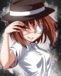 brown_hair bust dress_shirt eyepatch grin hat red_eyes shirt short_hair smile solo tori_(minamopa) touhou usami_renko