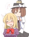 =_= ^_^ blonde_hair blush bow brown_hair closed_eyes dress_shirt eyes_closed flat_gaze hat maribel_hearn multiple_girls necktie no_hat no_headwear open_mouth shirt short_hair skirt smile tori_(minamopa) touhou translation_request usami_renko