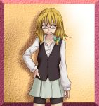 bespectacled bike_shorts blonde_hair contemporary dress_shirt glasses grin hair_ribbon hand_on_hip kirisame_marisa ribbon shirt short_hair skirt smile solo tori_(minamopa) touhou vest yellow_eyes