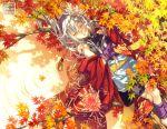 japanese_clothes leaves minami_seira original sleeping tree water watermark