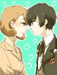 1girl arisato_minato blush brown_eyes brown_hair couple digital_media_player headphones persona persona_3 school_uniform short_hair toriumi_isako