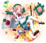 :d @_@ android apron armpits arms_up character_name detached_sleeves gift green_eyes hair_ornament hat looking_at_viewer momone_momo musical_note naname_(danbooru_maker) open_mouth outstretched_arm pocky ribbon sitting smile solo thigh-highs thighhighs utau waist_apron white_legwear