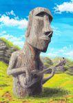 bass_guitar cloud clouds easter_island grass instrument itou_michirou moai original playing_instrument sky statue