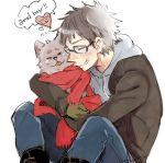 animal_hug boots brown_hair character_request copyright_request dog ehoumaki_otoko english glasses gloves golden_retriever grin happy heart hoodie hug jacket jeans male nico_nico_douga red_scarf scarf shio_(nico_nico_douga) short_hair simple_background sitting smile speech_bubble white_background